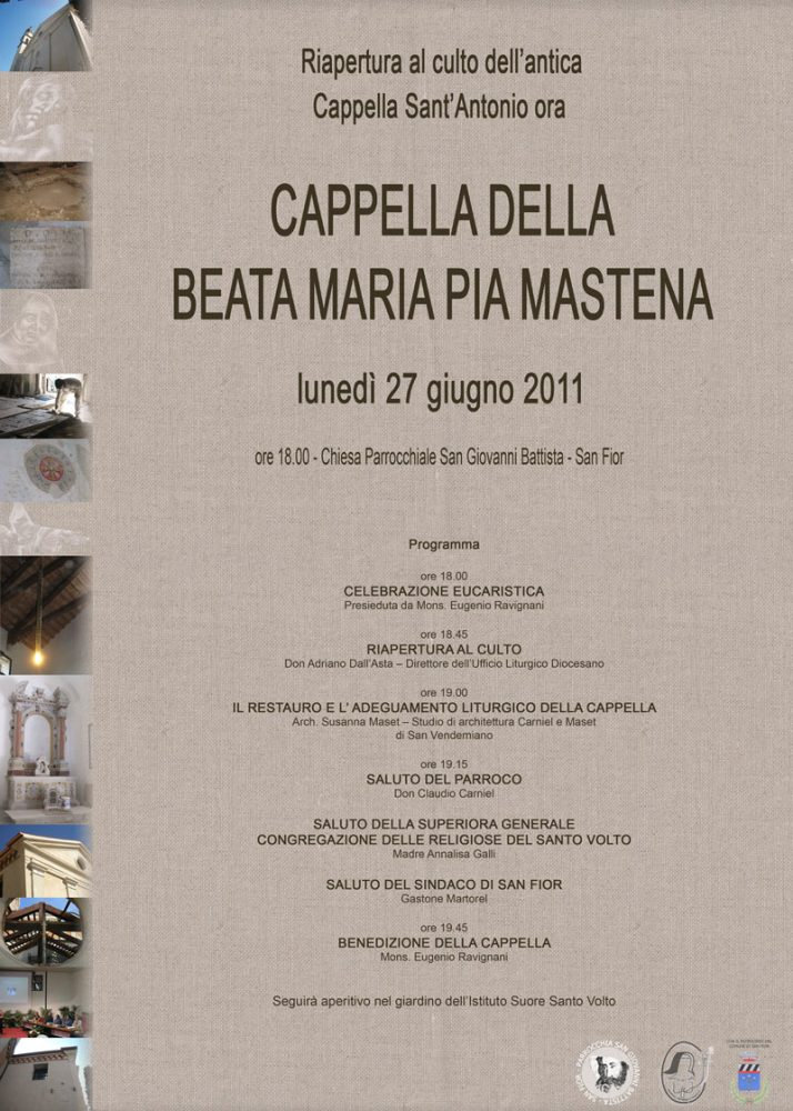 Locandina Inaugurazione ex-Cappella S. Antonio San Fior