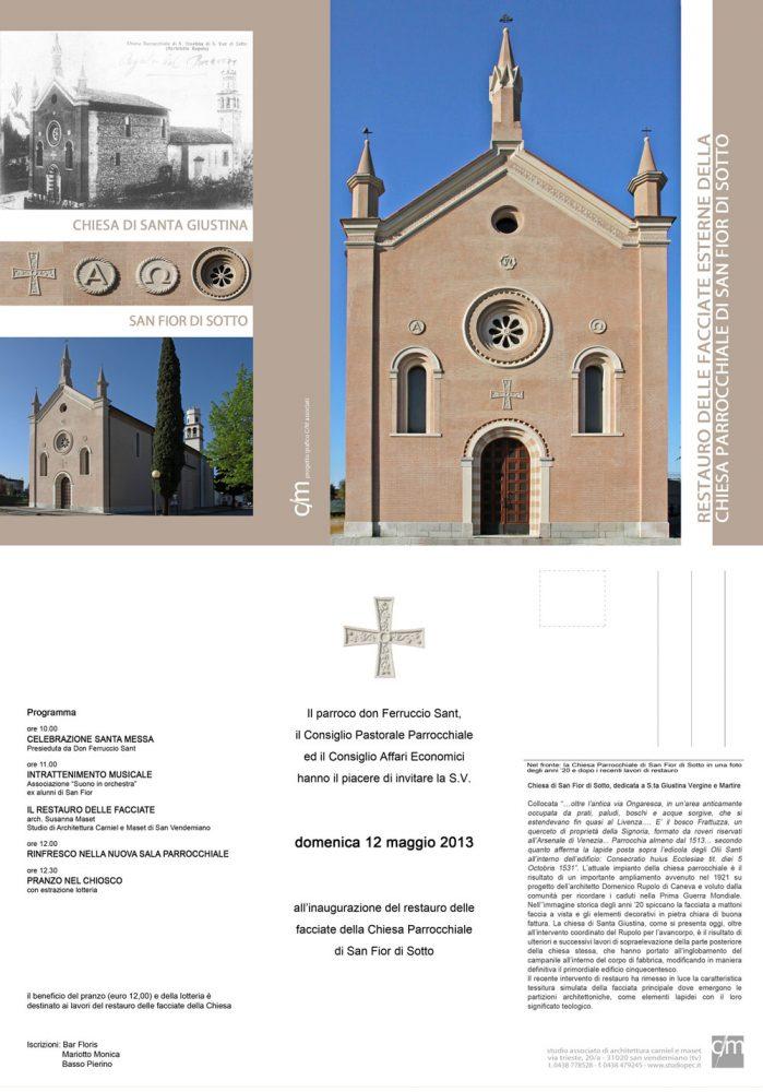 Locandina Inaugurazione Chiesa Parrocchiale San Fior di Sotto